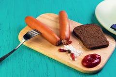 Еда 2 frankfurters Стоковое Изображение RF