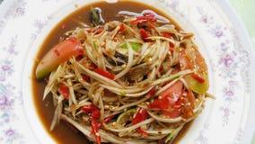Еда Hai: подача салата папапайи с овощами Стоковое фото RF