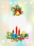 Елевые ветви с свечами, конфетой и золотым колоколом шаблон архива eps рождества 8 карточек включенный Стоковое Изображение