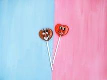2 леденца на палочке на розовой и голубой предпосылке человек влюбленности поцелуя принципиальной схемы к женщине красный цвет по Стоковое Изображение RF