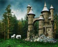 единороги лужка замока Стоковое Изображение RF