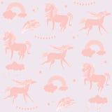 Единороги цвета Sandy с облаками на предпосылке biege Иллюстрация штока