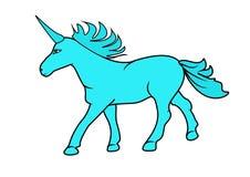 Единорог, голубой единорог Стоковое Изображение RF