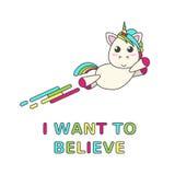 Единорог летания с радугой и название на белой предпосылке Стоковое Изображение