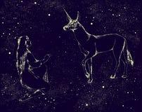 Единорог и девушка покрашенные звездами в ночном небе также вектор иллюстрации притяжки corel Стоковое Изображение RF