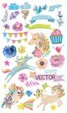 Единорог милой акварели волшебный с цветками Стоковое Изображение RF