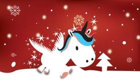 Единорог с снежной темой рождества Иллюстрация штока