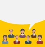 Единство бизнесменов объединяется в команду с пузырем речи, современным плоским ic Стоковые Фото