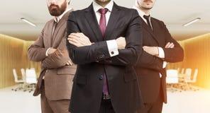 3 делового партнера в sunlit конференц-зале Стоковые Изображения RF