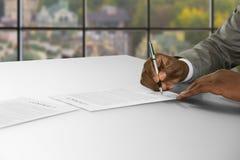 2 делового партнера подписывая документ Стоковые Изображения RF