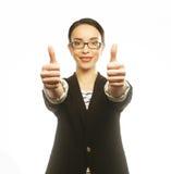 дело давая большие пальцы руки поднимает женщину Стоковое Изображение
