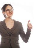дело давая большие пальцы руки поднимает женщину Стоковые Изображения