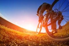 Едущ велосипед вниз с следа, конец-вверх заднее колесо Показ деятельности велосипеда поле глубины отмелое Стоковое Фото