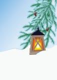 Ель и электрофонарь зимы Стоковое фото RF
