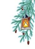 Ель и электрофонарь зимы Стоковые Изображения
