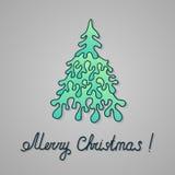 Ель рождества нарисованная вручную бумажная иллюстрация штока