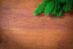Ель рождества на деревянной доске Стоковые Фотографии RF