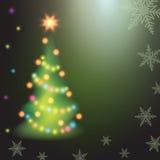 Ель рождества на красочной предпосылке Стоковые Изображения
