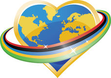 �arth in the shape of heart in Olympic rings Royalty Free Stock Photos