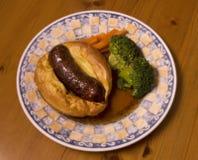 жаба сосиски отверстия тарелки batter великобританская Стоковые Изображения