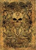 жадность Латинское слово Avaritia значит сребролюбие Концепция 7 смертных грехов на предпосылке grunge иллюстрация штока