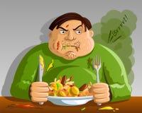 Жадность - обжорство - человек переедая иллюстрация штока