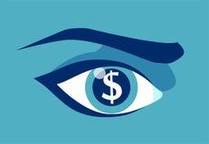 Жадный глаз с долларом подписывает внутри зрачок иллюстрация штока