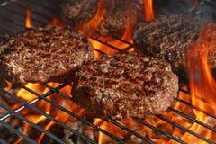 Жалуйтесь бургер для гамбургера на гриле пламени барбекю Стоковая Фотография