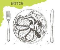 Жалуйтесь медальоны с перцами chili и соусом вектора эскиза плиты столовый прибор вилки и ножа чертеж руки изолированный на белом иллюстрация штока