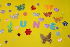 Жара лета в цветках бабочек в июне на желтой предпосылке Стоковые Фото