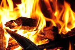 Жара огня в ноче Стоковые Изображения