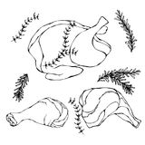 Жареная курица или туша Турции полная Сваренное мясо птицы Иллюстрация вектора изолированная на белой предпосылке реалистическо бесплатная иллюстрация