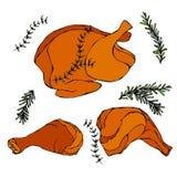 Жареная курица или туша Турции полная Сваренное мясо птицы Иллюстрация вектора изолированная на белой предпосылке реалистическо иллюстрация штока
