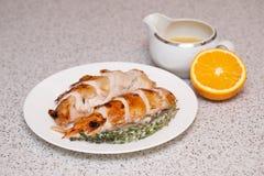 Жареная курица: отрезанный Стоковое Изображение