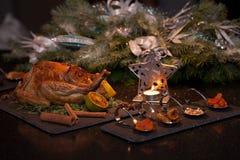 Жареная курица рождества: Стоковые Изображения RF