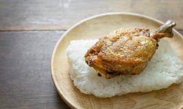 Жареная курица с липким рисом Стоковые Фото