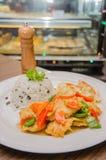 Жареная курица Stir с рисом Стоковые Фотографии RF