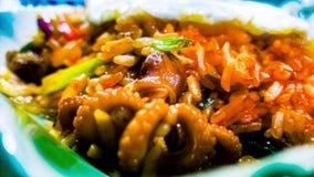 Жареные рисы осьминога младенца Стоковая Фотография