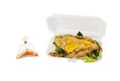 Жареные рисы свинины листовой капусты в коробке стиропора Стоковые Изображения