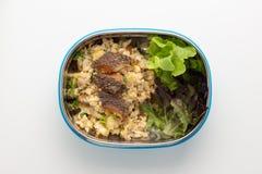 Жареные рисы с кудрявыми рыбами в шаре Стоковое фото RF