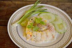 Жареные рисы с свининой и яичком Стоковое Фото