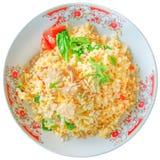 Жареные рисы с свининой на белой предпосылке Стоковые Изображения