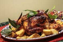 Жареный цыпленок на кровати картошек жаркого на диске Стоковые Изображения