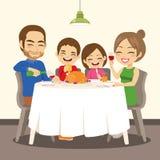 Жареный цыпленок обедающего семьи очень вкусный иллюстрация вектора