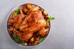 Жареный цыпленок с картошками и грибами жаркого стоковые изображения