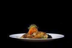 Жареный цыпленок и клин, космос экземпляра Стоковое фото RF