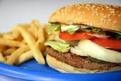 жарит гамбургер стоковое изображение rf