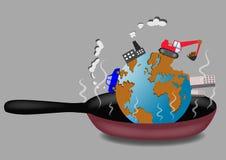 Жарка земли планеты на иллюстрации вектора сковороды Стоковые Фотографии RF
