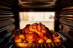 Жарка Турции благодарения внутри печи Стоковое Изображение RF