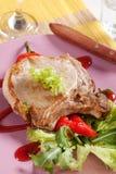 жаркое свинины chop аккомпанимента стоковое изображение